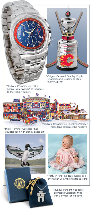 A collage of images featuring the Montreal Canadiens(R) 100th Anniversary Watch, Calgary Flames(R) Stanley Cup(R) Chamnpionship Ornament, Montreal Canadiens(R) Christmas Village, Misty Morning Wall Decor, Pretty in Pink So Truly Real(R) Doll, and the Inuksuk Pendant Necklace